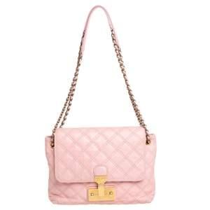 Marc Jacobs Light Pink Quilted Leather Pushlock Flap Shoulder Bag