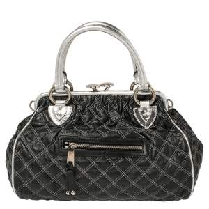 Marc Jacobs Black/Silver Quilted Leather Stam Satchel