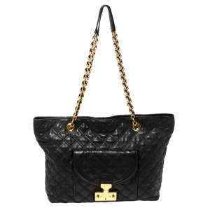 Marc Jacobs Black Leather Quilted Chain Tote