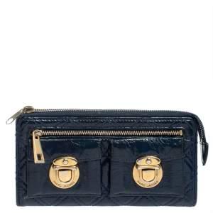 Marc Jacobs Blue Glazed Leather Zip Clutch