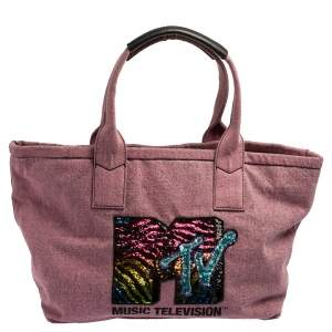 Marc Jacobs Pink Denim and Sequin Embellished Mtv Tote