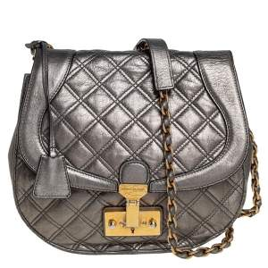 Marc Jacobs Metallic Green Quilted Leather Flap Crossbody Bag