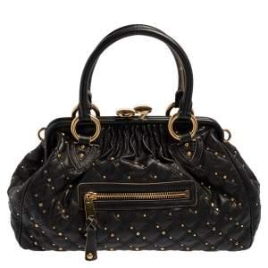 Marc Jacobs Black Leather Studded Stam Satchel