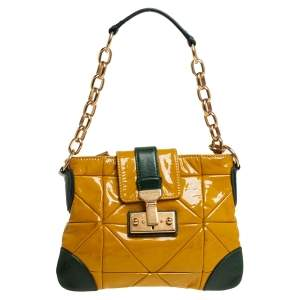 Marc Jacobs Mustard Yellow/Green Patent Leather And Leather Shoulder Bag