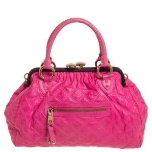 Marc Jacobs Neon Pink Quilted Leather Stam Satchel