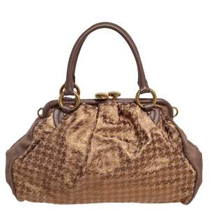 Marc Jacobs Brown/Gold Houndstooth Print Leather and Calfhair Stam Satchel