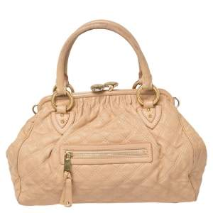 Marc Jacobs Peach Quilted Leather Stam Satchel