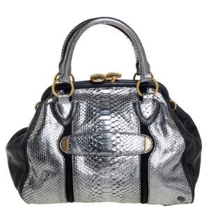 Marc Jacobs Silver/Black Leather and Python Stam Satchel
