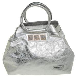 Marc Jacobs Metallic Silver Leather Ring Handle Tote