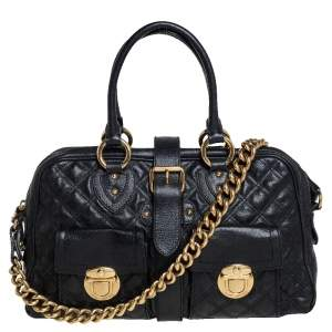 Marc Jacobs Black Quilted Leather Venetia Satchel