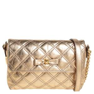 Marc Jacobs Metallic Gold Quilted Leather Bow Shoulder Bag
