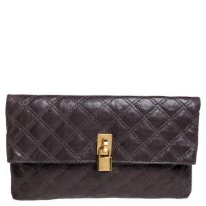 Marc Jacobs Brown Quilted Leather Eugenie Clutch