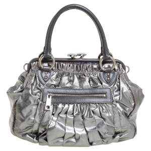 Marc Jacobs Metallic Grey Leather Stam Satchel
