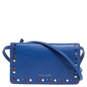 Marc Jacobs Blue Leather Jewel Embellished Wallet on Strap