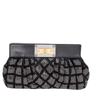 Marc Jacobs Black Suede And Leather Embellished Clutch