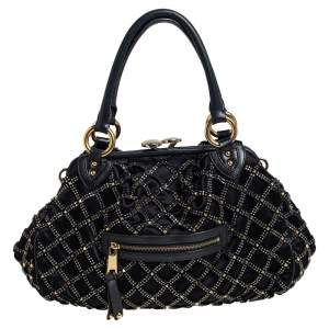 Marc Jacobs Black Quilted Satin and Leather Stam Crystal Embellished Satchel