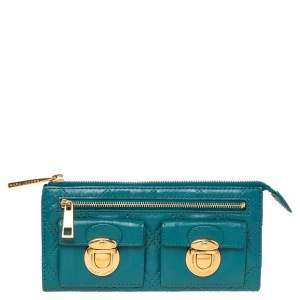 Marc Jacobs Teal Blue Quilted Leather Double Pocket Zip Clutch