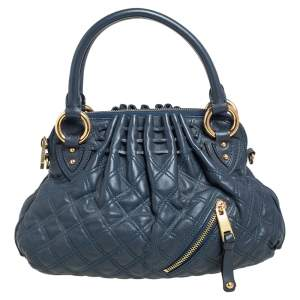 Marc Jacobs Navy Blue Quilted Leather Cecilia Satchel
