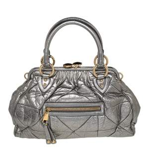 Marc Jacobs Metallic Grey Quilted Leather Stam Satchel