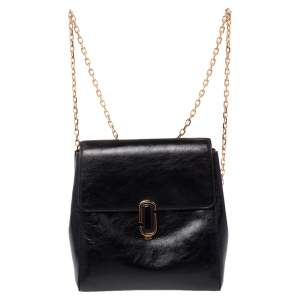 Marc Jacobs Black Patent Leather Chain Strap Backpack