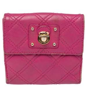 Marc Jacobs Pink Quilted Leather Compact Wallet