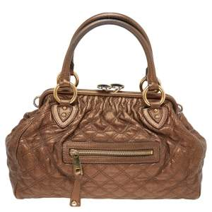 Marc Jacobs Metallic Brown Quilted Leather Stam Satchel
