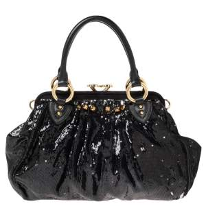 Marc Jacobs Blue/Black Sequin,Suede and Leather New York Rocker Stam Satchel