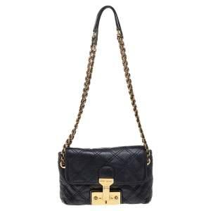Marc Jacobs Black Quilted Leather Baroque Shoulder Bag