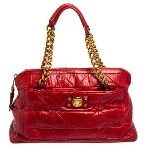 Marc Jacobs Red Quilted Leather Chain Satchel