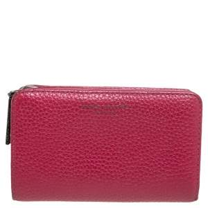 Marc Jacobs Fuchsia Leather Zip Compact Wallet