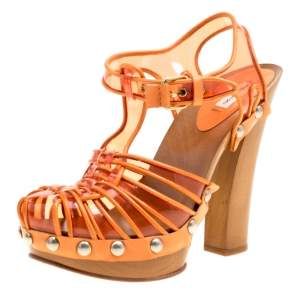 Marc Jacobs Orange PVC And Leather T-Strap Clog Sandals Size 35