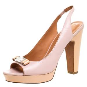 Marc by Marc Jacobs Blush Pink/Beige Leather Open Toe Slingback Sandals Size 38