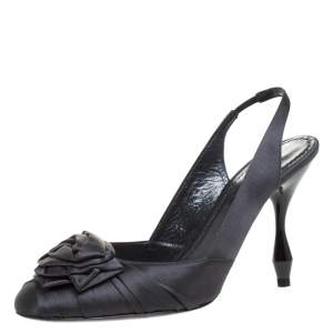Marc Jacobs Graphite Satin Ruffle And Rose Detail Round Toe Slingback Sandals Size 36.5