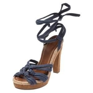 Marc Jacobs Blue Denim Platform Ankle Wrap Sandals Size 38