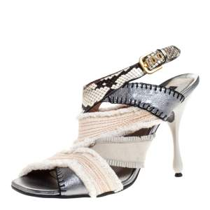 Marc Jacobs Multicolor Canvas, Leather And Python Slingback Sandals Size 40