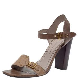 Marc Jacobs Brown Pony Hair And Leather Ankle Strap Sandals Size 39.5