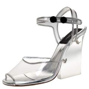 Marc Jacobs Silver PVC and Leather Plexiglass Heel Sandals Size 35