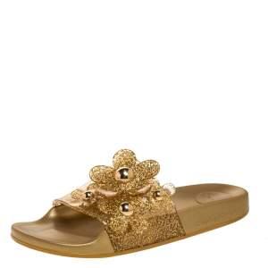 Marc Jacobs Gold Glitter Jelly Daisy Aqua Flower Flat Slides Size 39