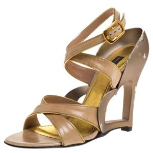 Marc Jacobs Beige Leather And Gold Piping Heart Wedge Ankle Strap Sandals Size 36.5