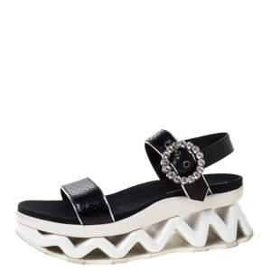 Marc by Marc Jacobs Black Python Embossed Leather Ninj Crystal Embellished Ankle Strap Sandals Size 38