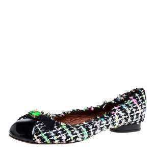 Marc Jacobs Multicolor Tweed And Patent Leather Crystal Embellished Ballet Flats Size 41