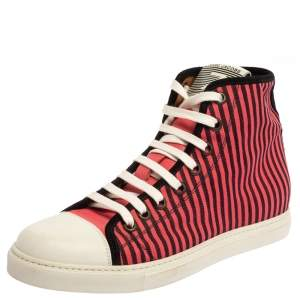 Marc Jacobs Pink/Black Canvas and Leather Striped Lace High Top Sneakers Size 41
