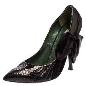 Marc Jacobs Black Python Leather Side Bow Pointed Toe Pumps Size 39.5