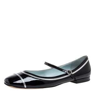 Marc Jacobs Black Patent Leather Mary Jane Ballet Flats Size 40