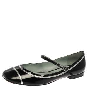 Marc Jacobs Black Patent Leather Poppy Mary Jane Ballet Flat Size 39.5