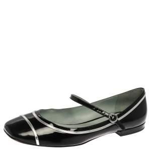 حذاء فلات باليه مارك جاكوبس بوبي ماري جين جلد لامع أسود مقاس 39.5