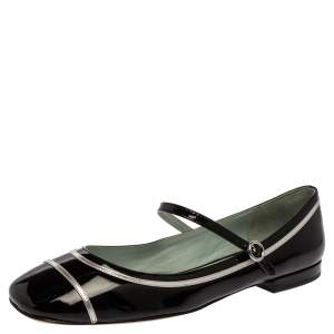 Marc Jacobs Black/ Silver Patent Leather Poppy Mary Jane Ballerina Flat Size 39.5