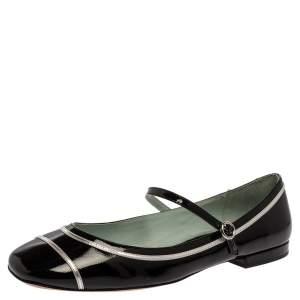 حذاء فلات باليرينا مارك جاكوبس بوبي ماري جين جلد لامع فضي/ أسود مقاس 40