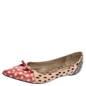 حذاء فلات مارك جاكوبس مقدمة مدببة ماوس قصة جلد ثعبان متعدد الألوان مقاس 36