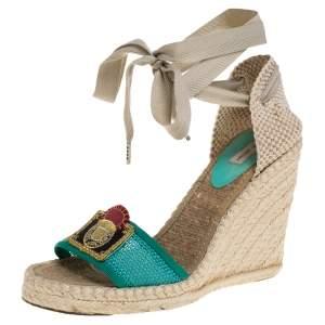 Marc Jacobs Multicolor Mesh And Woven Canvas Wedge Espadrilles Ankle Wrap Sandals Size 37